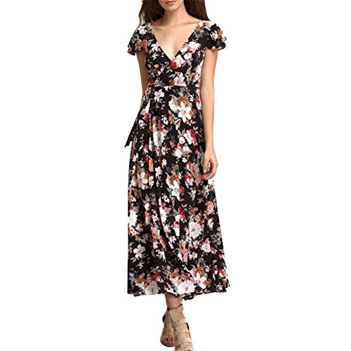 Etosell Floral Print Dress Cap Sleeve Beautiful V-Neck Maxi Dresses Summer Women Beach Back Cross Party at Amazon Womens Clothing store: