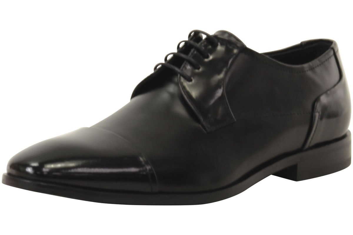 HUGO by Hugo Boss Men's Square Business Matte Leather Lace up Derby Work Shoe, Black, 10.5 N US
