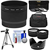 Bower LA-DC58L Conversion Adapter Tube (58mm) with Case + Tripod + Wide Angle & Telephoto Lenses + 3 (UV/CPL/ND8) Filters Kit + Hood for Canon PowerShot G15 & G16 Digital Camera