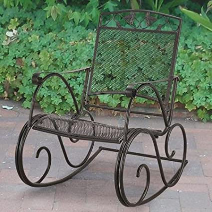 Beau Mainstays Jefferson Wrought Iron Porch Rocking Chair, Black