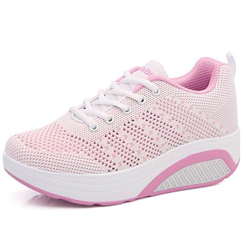 Solshine Damen Farben Block Plateau Schnürer Sneakers WALKMAXX Schuhe Shape Ups Fitnessschuhe Weiß