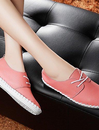 Njx Plat Eu39 Uk6 Décontracté 2016 Confort Rose Blanc Habillé Chaussures us8 Femme Cuir Bureau Talon Travail White Cn39 Richelieu amp; q4qPr