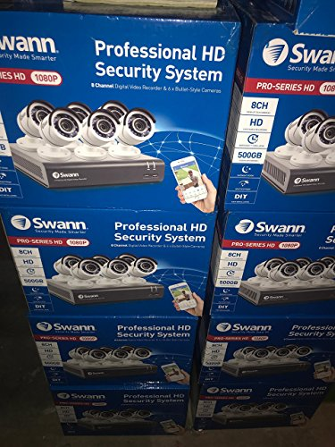 Swann – PRO SERIES HD 8-Channel, 6-Camera Indoor/Outdoor Wired 500GB DVR Surveillance System – Black/white