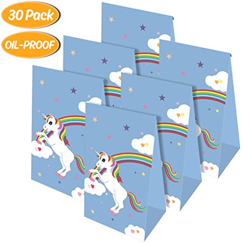 Unicorn Gift Bags Unicorn Paper Gift Bags Party Favor Bags for Kids Birthday Party Supplies Boys Girls Unicorn Themed Party Goodie Bags Decorations Pack of 30 ()