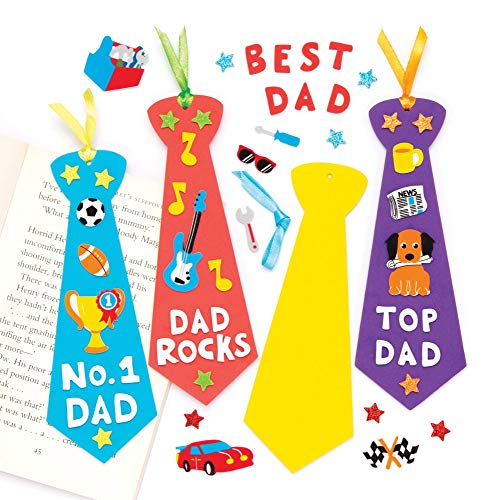 Baker Ross Fathers Day Tie Bookmark (Pack of 5) Bookmark Making Craft Kits for Kids to Make -