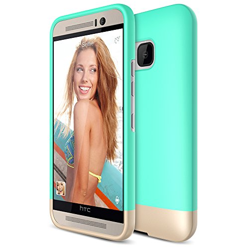 HTC One M9 Case, Maxboost [Vibrance Series] Protective Soft-Interior Scratch Protection with Vibrant Trendy Color Slider Style for HTC One M9 - Turquoise/Champagne Gold