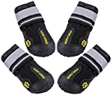 #6: QUMY 4 Piece Dog Boots Waterproof Shoes for Large Dogs with Reflective Velcro Rugged Anti-Slip Sole, Black, 5