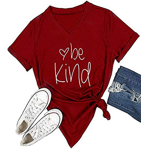 - Qrupoad Be Kind Tees Women V-Neck Kindness Graphic Tee Short Sleeve Christian Summer Casual T Shirts