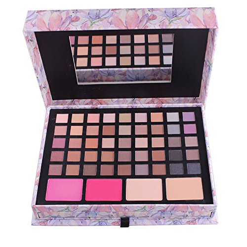 Makeup Palette Professional 45 Colors Eyeshadow Palette with Mirror&Eyebrow Pencil Shimmer&Matte Eye Shadow Palet Blush Concealer Eyeshadows&Lipgloss Kit Earth Tones Warm Smokey Eyes Cosmetic (A)