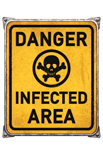 Danger Infected Area Skull and Crossbones Poison Warning Sign Poster 12x18 inch