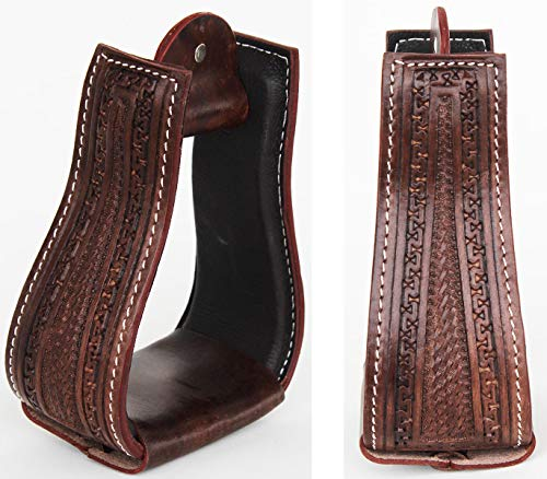 CHALLENGER Horse Saddle Western Hand Tooled Leather Covered Bell Riding Stirrups 51169 ()