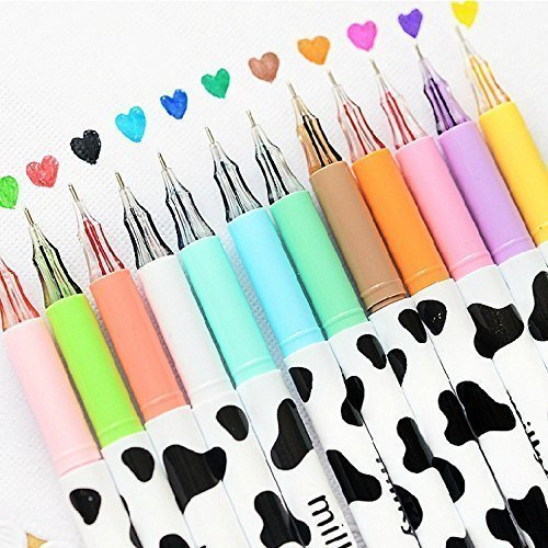 12pcs/pack Multi Colors Colorful Gel Pen Sweet-style Design Pin Type Ink Pen (Milky)