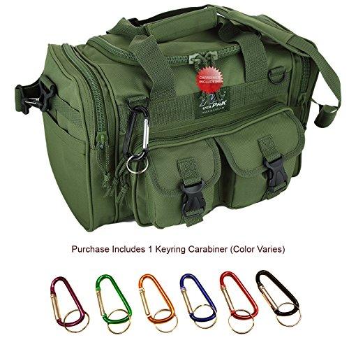 "Nexpak 15"" Inch OD Green 1200 cu. in. Duffel Duffle Molle Tactical Shoulder Bag With Key Ring Carabiner"