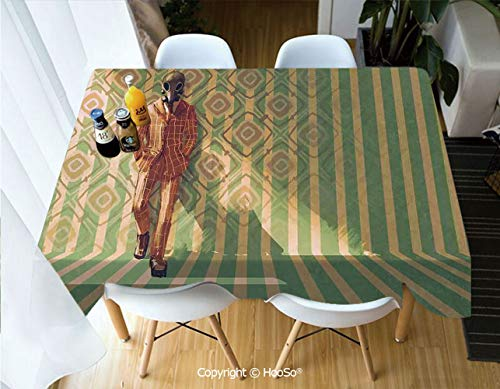 Fabric Rectangular Table Cloth, Washable Table Cover Perfect for Christmas, Thanks Giving, Dinner Parties, BBQ and Everyday Use,Fantasy Art House Decor,Fashion Man with Gas Mask,60