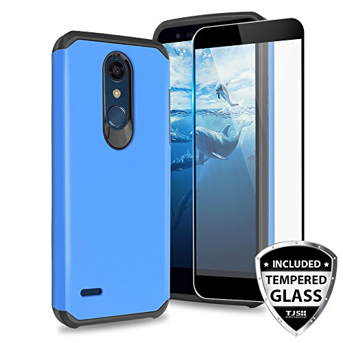 TJS LG K10 2018 / LG K30 / LG Premier Pro LTE/LG Harmony 2 / LG Phoenix Plus Case [Tempered Glass Screen Protector] Dual Layer Hybrid Shockproof Drop Protection Impact Rugged Phone Case Cover (Blue)