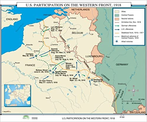 Map Of France Ww1.Amazon Com Wwi Western Front World History Wall Maps