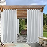 white outdoor curtains - Front Porch Outdoor Blackout Curtain - PONY DANCE Mildew Resistant Tab Top Curtain/Drapery,52-inch Wide by 95-inch Long,Greyish White,1 Panel