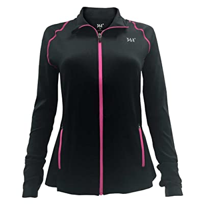 361 Degrees Women's Full Zip Athletic Running Jacket, Black/Raspberry. 401520214