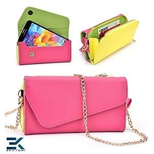 Huawei Ascend G6 Case   PU Leather Wallet Purse Universal Phone Wristlet - PINK, YELLOW & GREEN. Bonus Ekatomi Screen Cleaner*