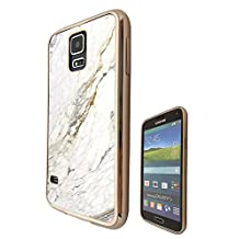 c00804 - Cool Bloggers Favourite White Marble Style Effect Art Design Samsung Galaxy S5 / S5 Neo Fashion Trend CASE Gold & Clear Gel Rubber Silicone All Edges Protection Case Cover