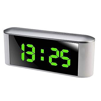 Reloj despertador multifunción reloj electrónico digital 12H 24H Pantalla LED de alarma Decoración Espejo con Temperatura