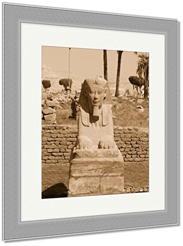 2 Tone Cartouche (Ashley Framed Prints Temples Of Karnak, Wall Art Home Decoration, Sepia, 30x26 (frame size), Silver Frame, AG5246326)