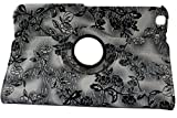 iStyle Dealer New PU Leather Luxury Stylish Slim-Fit Ultra Lightweight 360 Degrees Rotating Modern Art Embossed Flower Pattern Design Series Smart Cover Case Skin Support Multi-Angle Viewing For Samsung Galaxy Tab 3 8