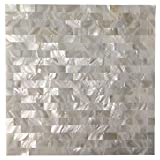 Art3d Peel and Stick Mother of Pearl Shell Mosaic Tile for Kitchen Backsplashes, 12'' x 12'' White Brick