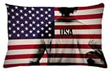 Ambesonne Soccer Throw Pillow Cushion Cover, Composite Double Exposure Image of A Soccer Player and American Flag USA Run, Decorative Accent Pillow Case, 26 W X 16 L inches, Beige Blue Red