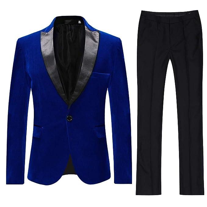 Trajes para Hombre Traje de 2 Piezas Slim Fit Traje de Boda Terciopelo Blazer Casual Chaqueta con Esmoquin Blazer Pantalones Pantalones