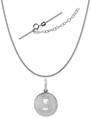 Sterling Silver Anti-Tarnish Treated Baptism Disc Charm on an Adjustable Chain Necklace