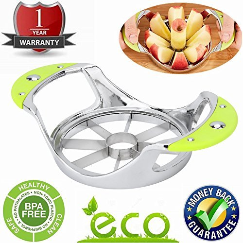 Apple Corer Apple Slicer And Corer Pear Core Remover Stainless Steel Metal Cutter Wedger Divider For Extra Large Decorer Tool 304 Grade Ultra Sharp 8 Blades fruit Pitter Kitchen Gadgets by B-SUPER