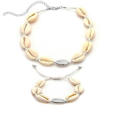 9499cbef598c65 CrazyPiercing Shell Necklace Bracelet Set, Adjustable Cowrie Shell Choker  Necklace Anklet Bracelet, Summer Beach White Velvet Rope Chain Choker  Weaving ...