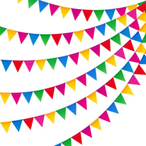 JUSLIN 300PCS Colorful Flag Pennants Multicolor Pennant Banner Nylon Cloth Banner for Party Celebrations and (Multi Color Pennant)