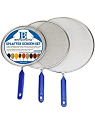 "Grease Splatter Screen For Frying Pan Cooking - Stainless Steel Splatter Guard Set of 3 - 8"", 10"" and 11"" inch - Super Fine Mesh Iron Skillet Lid- Hot Oil Shield to Stop Prime Burn"