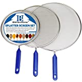 "Stainless Steel Splatter Screen Guard Set of 3 - 8"", 10"" and 11"" - Fit For Most Frying Pans And Pots - Super Fine Mesh Iron Skillet Lid- Hot Oil Shield to Stop Prime Burn"