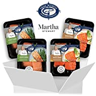 Martha Stewart for True North Seafood: Simple and Easy Sockeye Salmon with Miso Butter and Atlantic Salmon with Lemon Herb Butter – (Pack of 4) 11 oz. Trays