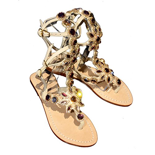 Gorgeous Jeweled Genuine Leather Shoes Pasha, Style Hisingen Gladiator Peach/Tan (11)