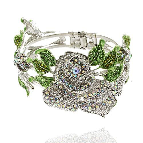 Mens Platinum Collection (SP Sophia Collection Platinum Bathed Snap on Metal Large Rose Bracelet Bangle in Silver)