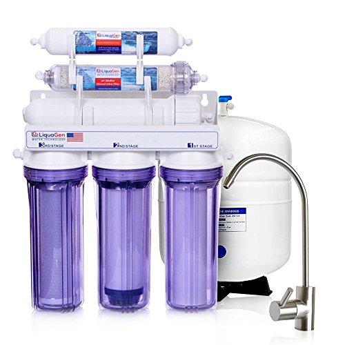 LiquaGen - 6 Stage Residential Under-Sink Mineral Restoration pH Alkaline Reverse Osmosis (RO) Water Filter System (50 GPD) by LiquaGen