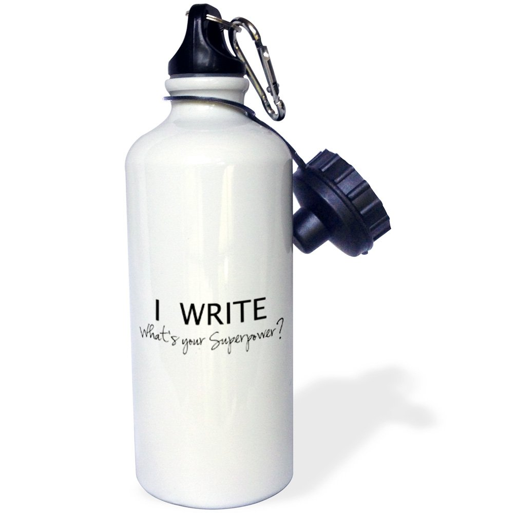 3dRose wb_194455_1 I Write - What's Your Superpower - Fun Gift For Writers - Writing Love Sports Water Bottle, 21Oz, Multicolored