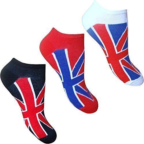 Teddyt's Men's Super Soft Cotton Rich Union Jack Flag Great Britain Trainer Socks 3 Pair Pack Us Shoe Size 7-12 Red