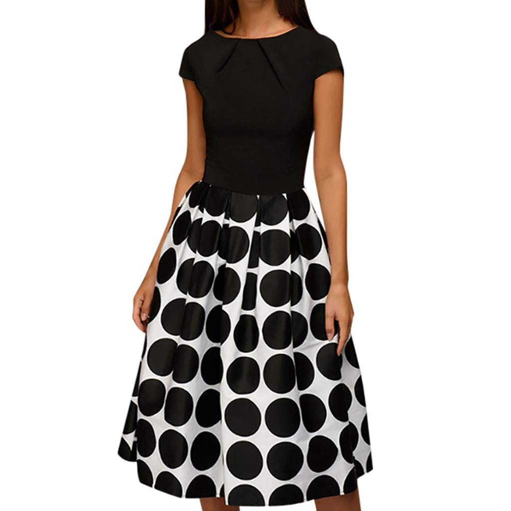 Womens Dresses Vintage Short Sleeve Dot Printed Cocktail Flowy Swing Formal Dress for Party,Wedding (XL, Black)