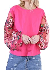 Umgee Womens Embroidered Sheer Puff Sleeve Top Hot Pink L