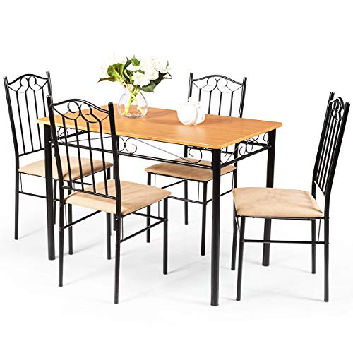 Remarkable Tangkula 5 Piece Dining Table Set Vintage Wood Top Padded Seat Dining Table And Chairs Set Home Kitchen Dining Room Furniture Pdpeps Interior Chair Design Pdpepsorg