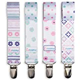 Pacifier Clip Girls by Liname - 4 Pack - Premium Quality Universal Pacifier Clips - Adorable 2-Sided Stylish Design - Soothie Pacifier Holder