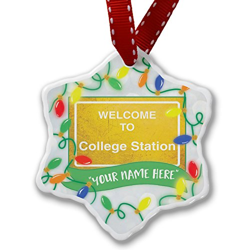 Personalized Name Christmas Ornament, Yellow Road Sign Welcome To College Station NEONBLOND by NEONBLOND (Image #1)
