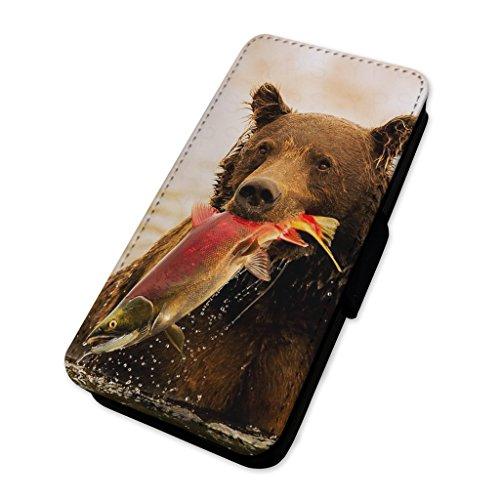 Bear Catching Salmon–Custodia ad aletta in pelle copertura di carta Apple Iphone X
