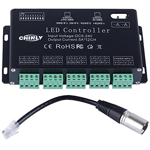 CHINLY 12 channel DMX 512 RGB LED strip controller dmx decoder dimmer driver DC5V-24V 5A/CH (12CH DMX 512 Decoder) - Rgb Led Dmx Controller
