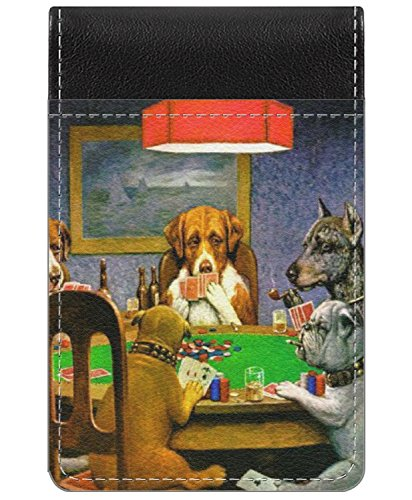 - Dogs Playing Poker by C.M.Coolidge Genuine Leather Small Memo Pad